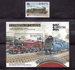 St. Kitts-Sc#407-8- id7-unsed NH set + sheet-Trains-Locomotives-1996-