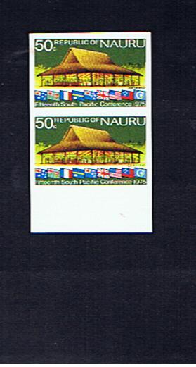 NAURU 1975  CONFERENCE 50c IMPERFORATE PAIR
