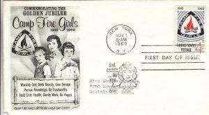 1960, 50th Anniv. Camp Fire Girls, Fleetwood, FDC (D13608)