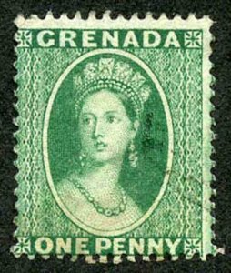 Grenada SG14 1d green wmk Large Star Perf 14 Cat 8 pounds