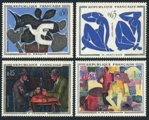 France 1014-1017,MNH.Michel 1372-1375. 1961.Braque,Matisse,Cezanne,la Fresnaye.