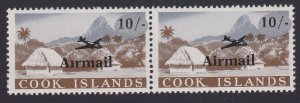 COOK IS 1966 Airmail 10/- pair - variety MISSING STOP above first i MNH.....B106