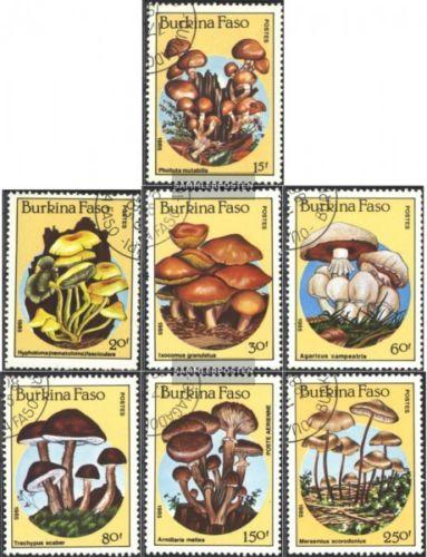 Burkina Faso 1985 Mushroom Plant Fungi Nature Stamps Used SC 743-749 Mi 1054-60