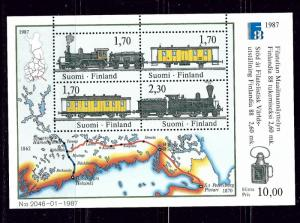 Finland 755 MNH 1987 Trains S/S