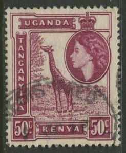Kenya & Uganda - Scott 110 - QEII Definitive -1954 - Used - Single 50c Stamp