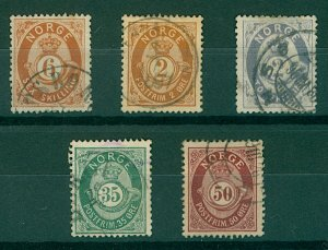 Norway 1872/7 range of early numeral issues to include sg36, 44, 61 VFU stamps