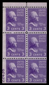 US #807a BOOKLET PANE with PLATE NUMBER, large 90% plate 22436, mint never hi...