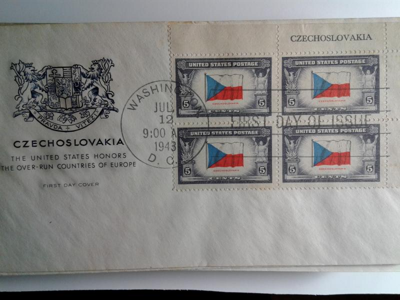 SCOTT # 910 CZECHOSLOVAKIA PLATE BLOCK OF 4 FIRST DAY OF ISSUE NICE CACHE !!