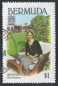 Bermuda #400 $1 Gina Swainson, Miss World, In Carriage