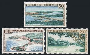 Ivory Coast C22-C24,hinged.Michel 248-249,255. Air Post 1963.Landscapes.Bridge.