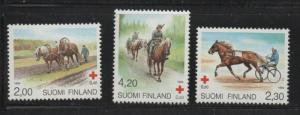 Finland Sc B249-51 1994 Red Cross Horses stamp set mint NH