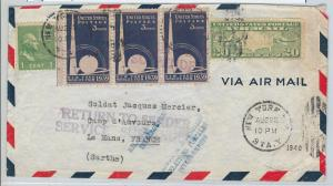 58694 -  United States  - POSTAL HISTORY: COVER to FRANCE 1940  Return to SENDER