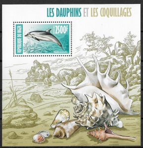 Niger MNH S/S Dolphin & Shells
