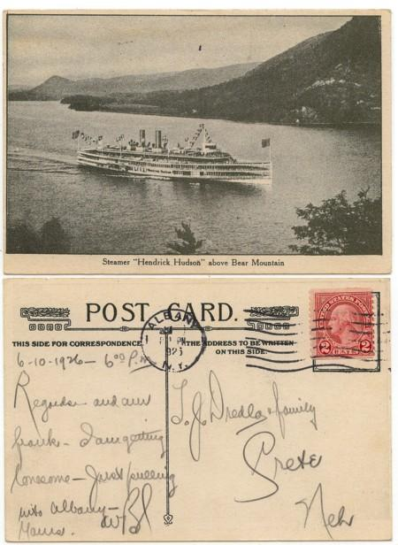 USA - 1926 View Card w. Hendrick Hudson Steamer Used Albany