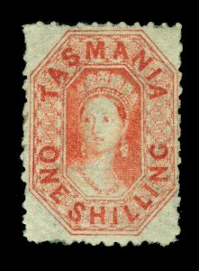 TASMANIA 1873 Queen Victoria 1sh dull vermilion - perf. 11.5  Scott # 34d UNUSED