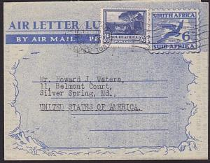 SOUTH AFRICA 1951 6d airletter uprated 3d used to USA.......................7597