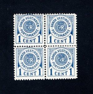 Danish West Indies #J1, Block of 4,  F/VF,  Unused, CV $20.00 ....1630057