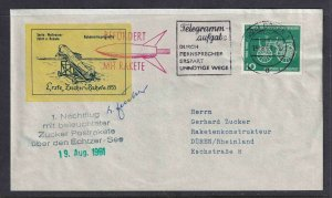 GERMANY ROCKETMAIL ERSTE ZUCKER RAKETE 1933 SIGNED 19. AUG 1961 VF #1