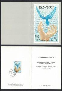 Isle of Man Dove Bird Christmas International Peace Year Maxicard SG#332 MI#323