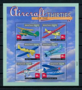 [101645] Bhutan 2000 Aviation aircrafts Sheet MNH
