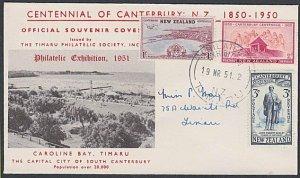 NEW ZEALAND 1951 Timaru Philatelic Exhibition cover and cancel + cinderella.L253
