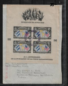 Honduras 1940,Imperf UPU Souvenir Sheet Sc # C100 on Cover,VF USED (RS-2)