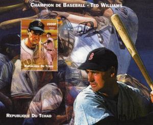 Chad 2002 Champion of Baseball Ted Williams Souvenir Sheet Perforated (1) MNH