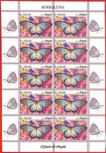 A1554 - ANGOLA - ERROR: MISSPERF  FULL SHEET x10 - 2019, Butterflies