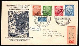 GER SC #703,708,710,712 +NOTOPFER 1954 Pres. Huess FDC 01-31-1954, REG'D