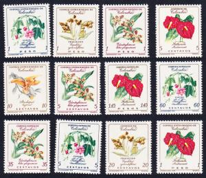 Colombia Orchids Flowers 12v SG#1011=1021 SC#716-717+C360-C370