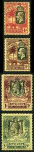 Gambia SG118/21 1922-29 KGV Wmk Mult Crown CA Set of 4 M/M