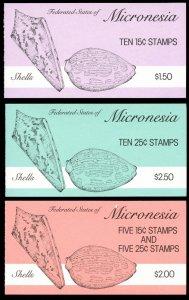 Micronesia. Scott's #s 85a,88a & 88b.  MNH. Booklets.  2017 SCV $20.00