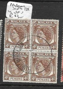 MALAYA PENANG (P1401B) QEII  4C SG   BL OF 4  VFU