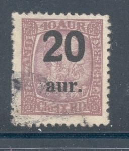 Iceland Sc 134 1921 20 a ovpt on 40 a Christian IX stamp ...