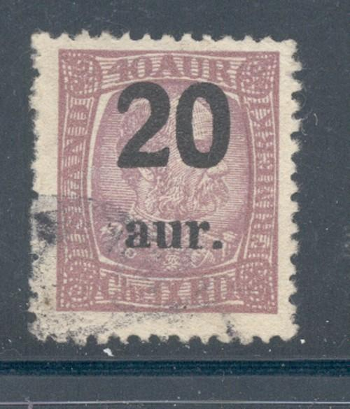 Iceland Sc 134 1921 20 a ovpt on 40 a Christian IX stamp ...