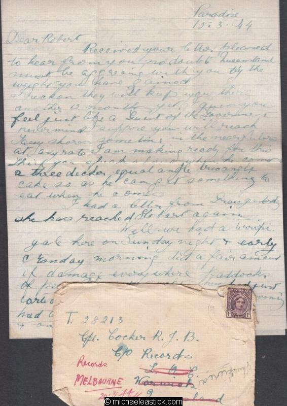 Grace & Robert - Cover & Letter #44 - 1944 (Mar) - Two Pages