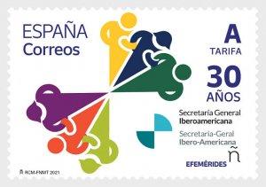 Stamps Spain 2021 - 30 Years Of The Ibero-american General Secretariat - Mint.