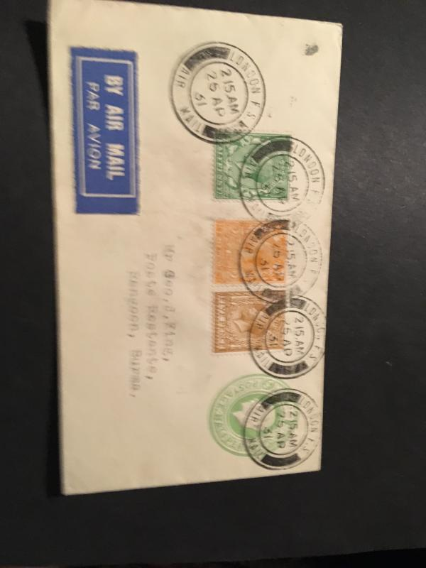 Gt.Britain to Burma Airmail Cover ex London/25 AP/31 to Rangoon Two Diff BS