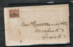 Canada #1 Very Fine Used On Cover To Toronto June 1852 **With Certificate**
