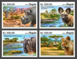 Angola - 2019 National Parks & Animals - 4 Stamp Set - ANG190207a