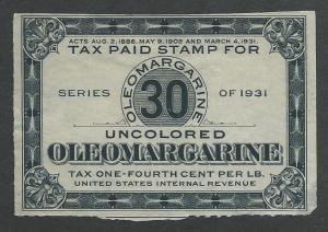 Oleomargarine Tax Stamp, Unused