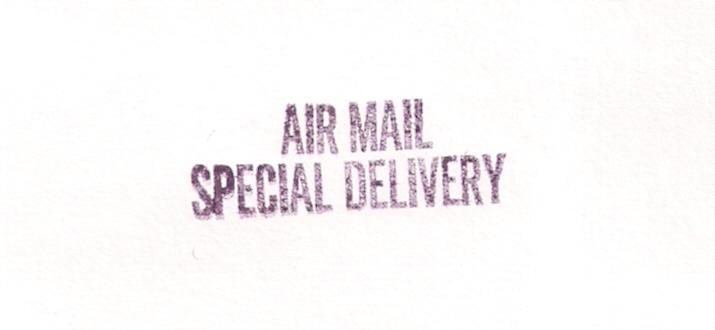 Post Office handstamper device AIR MAIL SPECIAL DELIVERY