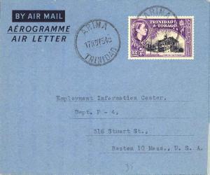 Trinidad 12c QEII Town Hall, San Fernando 1954 Arima, Trinidad Air Letter Air...