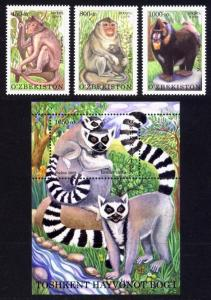 Uzbekistan Sc# 592-5 MNH Tashkent Zoo Primates