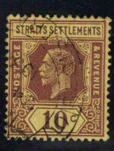 Straits Settlements Scott 191a Used 10c  Die 1, Wmk 4 stamp 1925