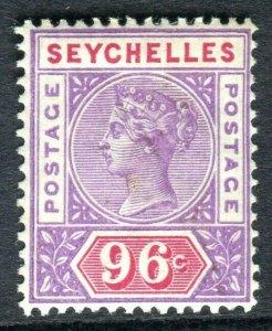 SEYCHELLES-1890-92 96c Mauve & Carmine. A mounted mint example Sg 8