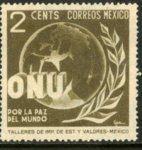 MEXICO 813, 2c Honoring the United Nations. UNUSED, NG. F-VF.