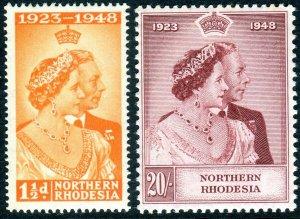 NORTHERN RHODESIA-1948 Royal Silver Wedding.  An unmounted mint set Sg 48-49