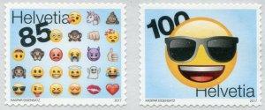 HERRICKSTAMP NEW ISSUES SWITZERLAND Sc.# 1650a Emojis Self-Adhesive Pair