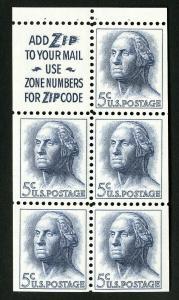 US Stamps # 1213c XF OG NH Pane of 5 w/ Slogan #2 Catalog Value $60.00